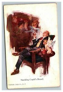 Vintage 1910's Advertising Postcard Smoking Cupid's Brand Cherub Pipe Tobacco