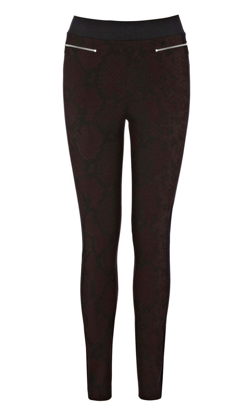 Karen Millen Snake Print schwarz Super Skinny Zip Jegging Stretch Trousers 8 36