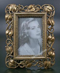 Jugendstil-Bilderrahmen-Antik-Fotorahmen-Rechteckig-Rahmen-Gold-Blaetter-Design