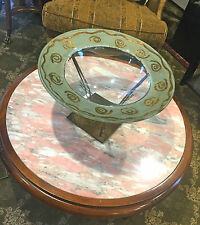 SIGNED TONY EVANS ART GLASS BOWL - LARGE BOWL AND STAND WITH APPLIED GOLD ACCENT