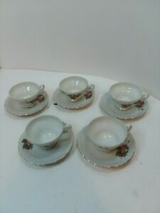 Set-of-5-Porcelain-Pink-Floral-Tea-Cups-amp-Saucers-Made-In-Japan