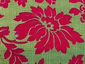 SALE-2YDS-Garnet-amp-Pea-LIme-Barkcloth-Era-Vintage-Fabric-Decorator-60-039-s-70s-DIY