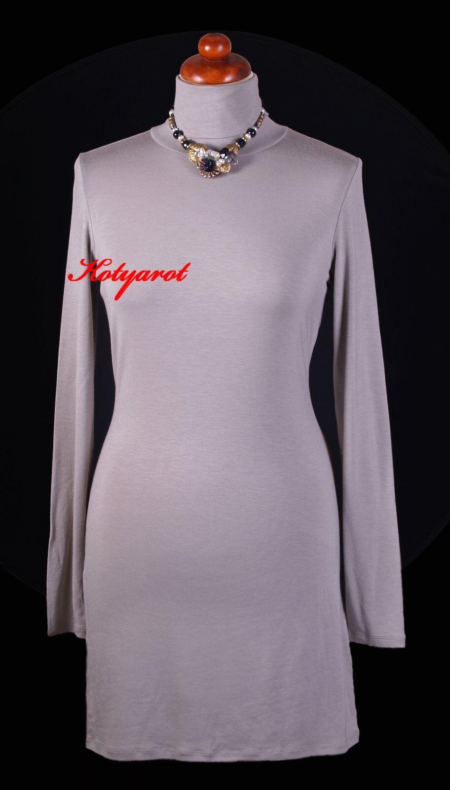 REPEAT Stretch Kleid Long Shirt NEU Gr. 38 Taupe dunkel Grau - Braun