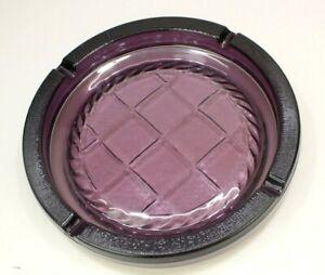 Vintage-Large-10-25-034-Purple-Plum-Glass-Cigar-Cigarette-Ashtray-Heavy-Round