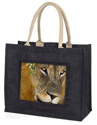 Löwen Gesicht große schwarze Einkaufstasche Weihnachten Geschenkidee, at-19blb