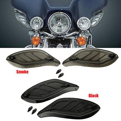 Black Adjustable Side Wing Air Deflectors Fairing For Harley FLHT FLHX 1996-2013