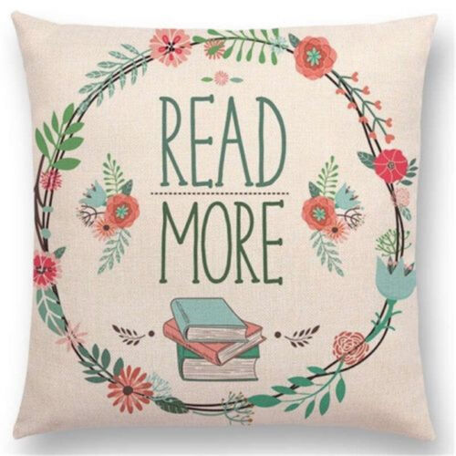 Enjoy Time Square Sofa Cushion Cover Tea Books Printed Cotton Linen Pillow Case