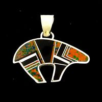 Calvin Begay Sterling Silver Opal And Onyx Bear Pendant --- P28 D