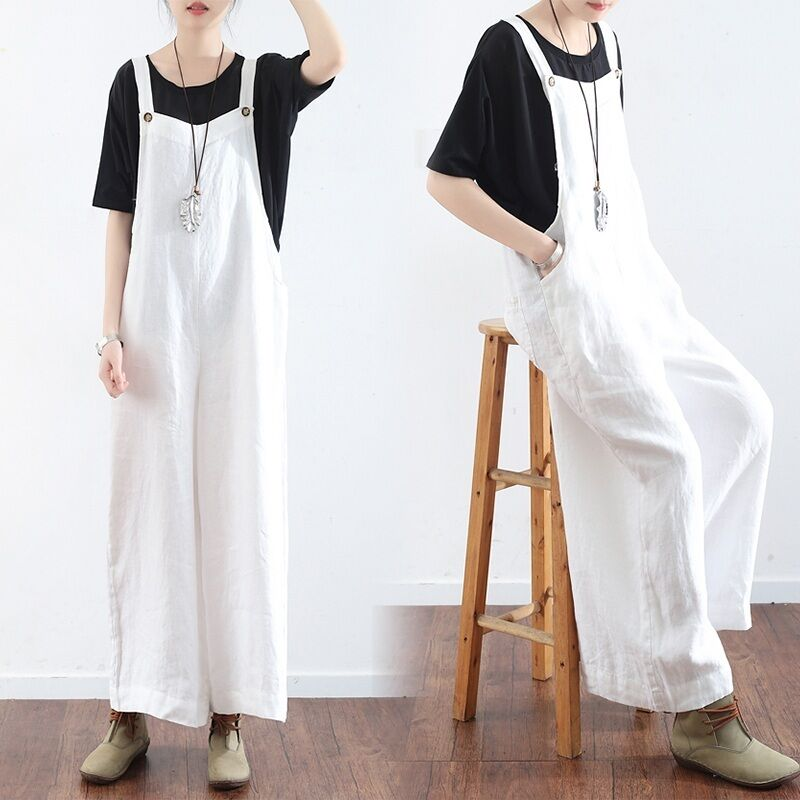 1d87db73453 Details about NEW Women Loose Linen Overall Wide Leg Pants Suspenders  Jumpsuit Trousers Romper
