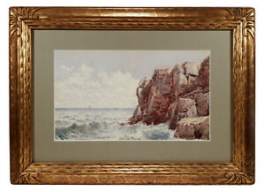 FINE-ANTIQUE-LANDSCAPE-SEASCAPE-WATERCOLOR-PAINTING-FREDERIC-MARLETT-BELL-SMITH