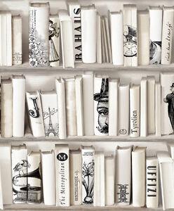 Image Is Loading Encyclopedia Cream Bookcase Wallpaper Neutral Bookshelf Paris 572217