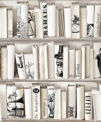 Encyclopedia Creme Bucherschrank Tapete Neutrale Bucherregal Paris