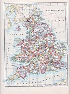 Map Of England Showing York.Details About 1912 Map England Wales York Norfolk Kent Derby Durham Devon Cornwall Etc