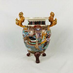 Japanese-Satsuma-Temple-Censer-Jar-Shishi-Foo-Lions-Tripod-Legs-10-25-034-ca-1930s