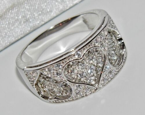 size R Sterling Silver 0.50ct Ladies Chunky Heart Band // Cocktail Ring 925