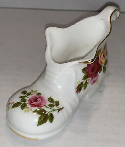Vintage Fine Bone China Cottage Rose Miniature Shoe Boot Ebay