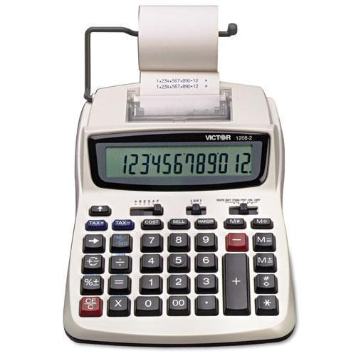 VICTOR 1208-2 2-Colour 12 Digit Compact Commercial Printing Calculator