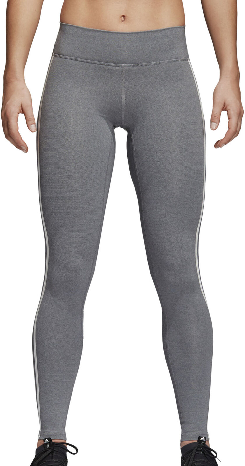 Believe this adidas 3 stripe Womens long workout tights - grey
