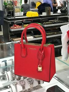 Details about NWT MICHAEL KORS MERCER STUDIO RED LEATHER SATCHEL SHOULDER BAG MESSENGER PURSE