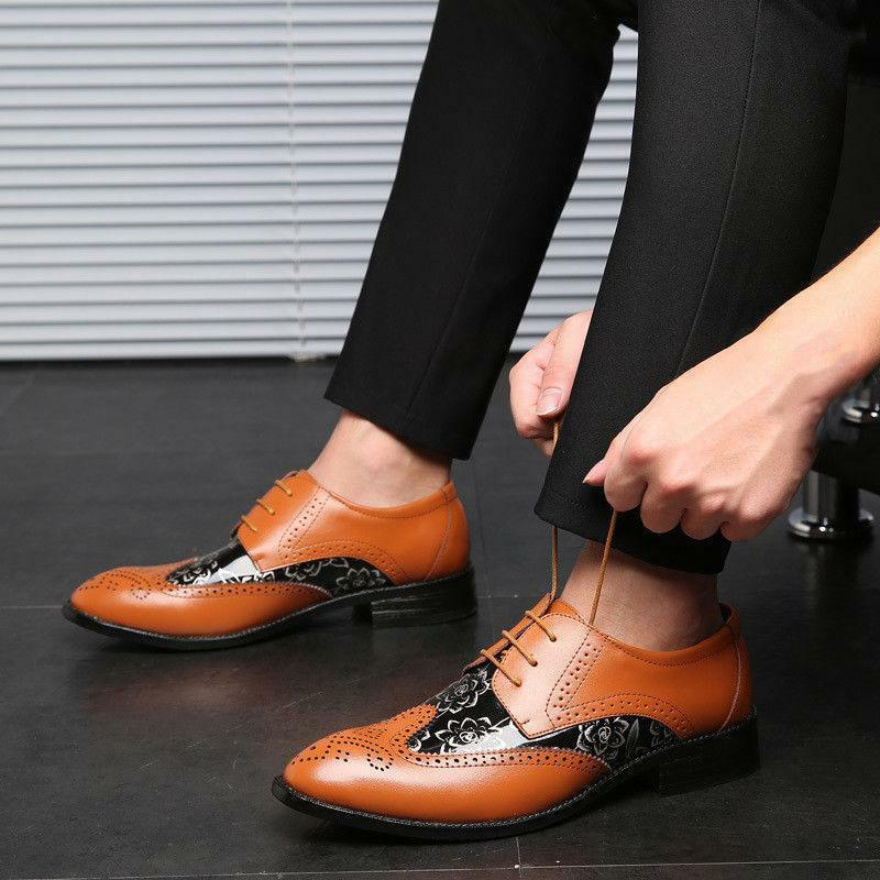 Classic Men's Brogue Carving Oxfords Lace Up Leather casual Wedding Dress shoes