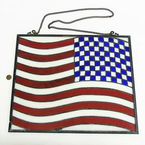 Stained Glass American Flag.Details About Vtg Spectrum Stained Glass 17 X 14 American Flag Patriotic Usa Suncatcher