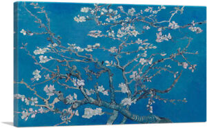Branches-with-Almond-Blossom-Blue-Rectangle-Canvas-Art-Print-Vincent-Van-Gogh
