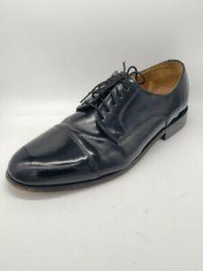 FLORSHEIM-Mens-9-Glossy-Black-Patent-Leather-Cap-Toe-Oxfords-Shoes
