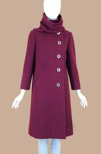 Pauline Trigére 1950s Vintage Boysenberry Wool Coa