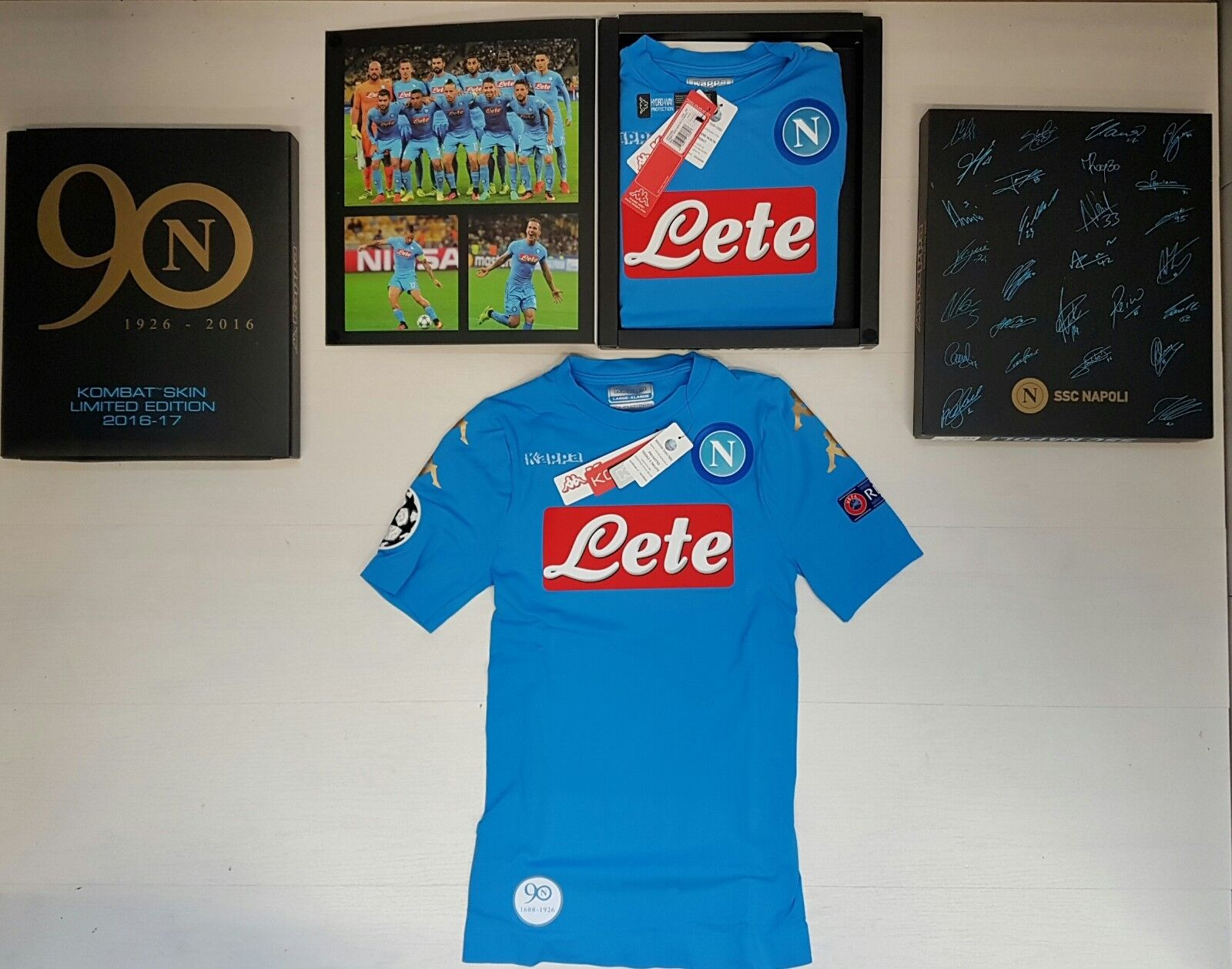 NAPOLI AUTHENTIC HOME JERSEY LIMITED EDITION 90th BOX CHAMPIONS LEAGUE SHIRT