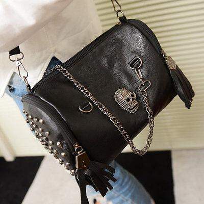 All Matched Women Skull Rivet Tassels Shoulder Bag Handbag Crossbody Black JL