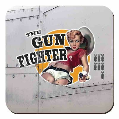 The Outlaw Vintage War Plane Classic Pinup Metallic Drinks Table Coaster