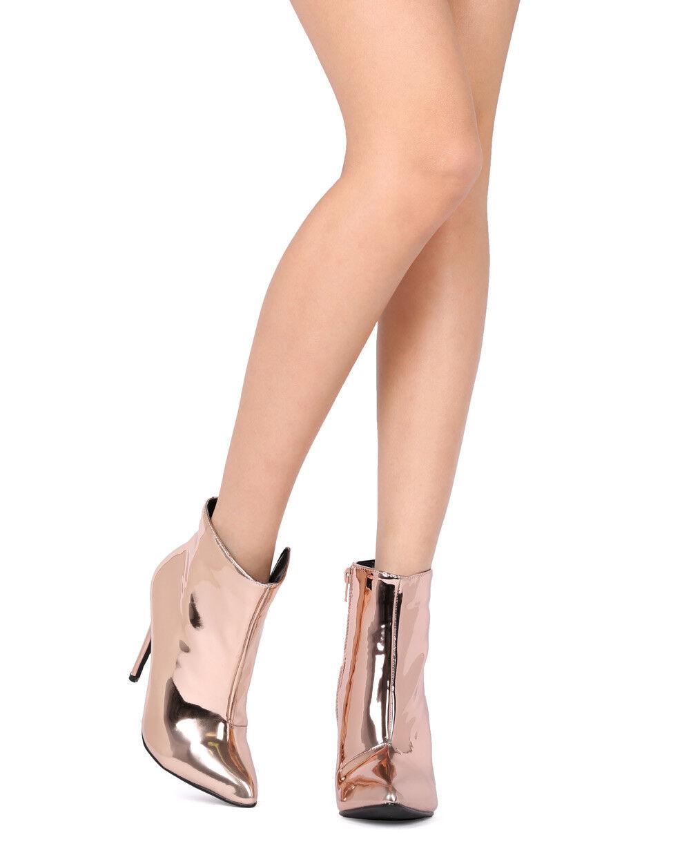 New Women Liliana Xaya-12 Mirror Metallic Pointy Toe Stiletto Ankle Bootie
