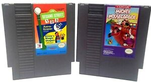 Sesame Street 1 2 3 + Mickey Mousecapade NES Video Game Cartridges Nintendo 1985