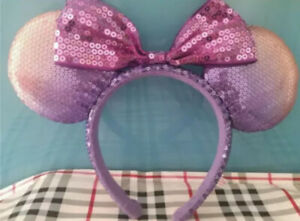 New Tokyo Disney Resort Minnie Mickey Mouse Bow Discolor Sequin Headband Ears