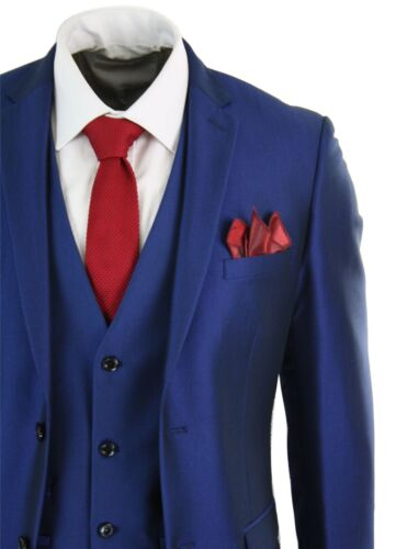 Mens 3 Piece Shiny Blue Wedding Prom Party Suit Tailored Fit Smart Formal
