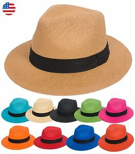 Summer Cool Straw Panama Hat Wide Large Flat Brim Fedora Outback Men ... 2dbc53d01