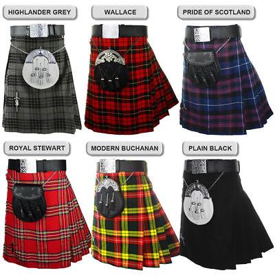 "Highland Grey Scottish Men/'s Traditional  5 Yard Highland Tartan Kilt Length 24/"""