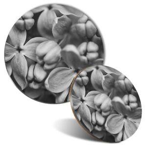 Mouse Mat Coaster Set Bw Lilac Flowers 39218 Ebay