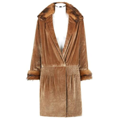 JEAN PATOU Couture c.1920s Bronze Fur Trim Velvet