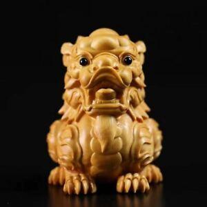 China-039-s-Natural-Boxwood-Carve-Fengshui-Foo-Fu-Dog-Guardion-Door-Evil-Lion-Statue