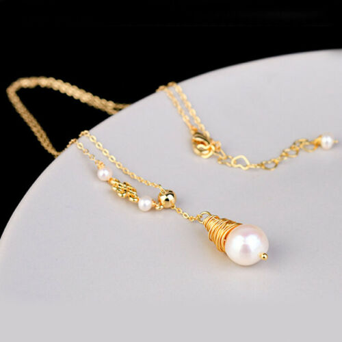 Women Fashion Freshwater Pearl Water Drop Pendant Necklace Choker Bib Collar New