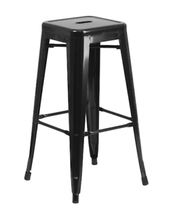 30 Inch Black Metal Bar Stool Square Seat Backless Stackable