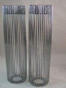 Set-of-2-Metal-Mid-Century-Modern-14-034-Tall-Candle-Holders
