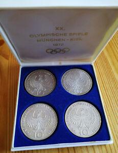 Münzset 4 Stück 10 Dm Münzen Set Olympiade 1972 München Kiel Silber