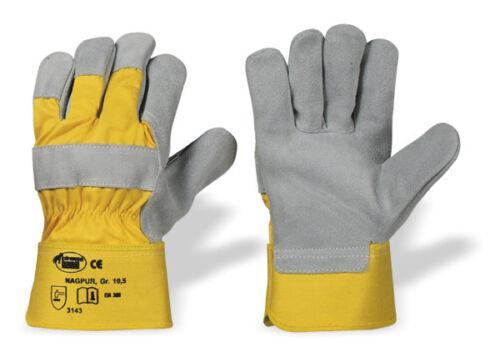 Arbeitshandschuhe Handschuhe Gr.10,5 Innenh gefüttert Rindspaltleder gelb grau