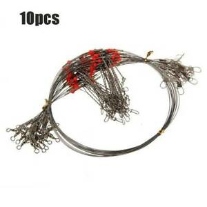 10-x-Stainless-Steel-Trace-Wire-Leader-Fishing-Line-Leaders-With-Snaps-amp-Swivel