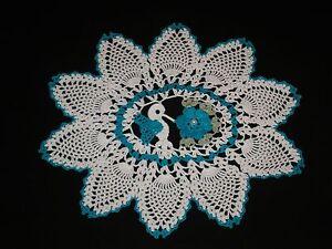 New Hand Made Doily Crochet Hummingbird & Rose Pineapple