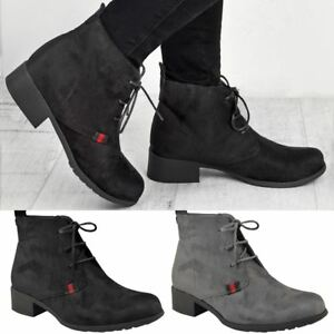 Womens Ladies Flat Low Heel Black Ankle Boots Work Office Lace Up ... 0416e7efb