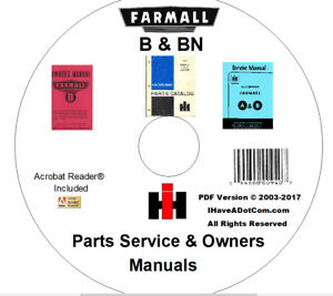 image is loading farmall-b-bn-owner-parts-service-3-manuals-