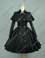 Women Victorian Black Trench Coat Dress Lined Steampunk Theater Clothing C018